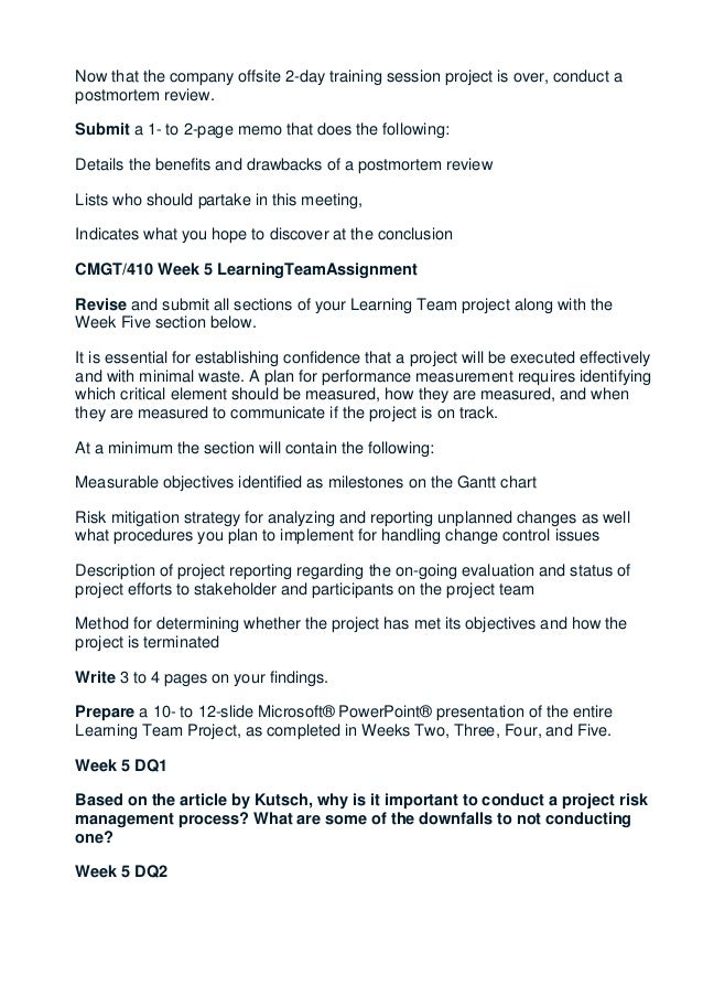 cmgt 410 syllabus Christopher shaun hope (abd)  develop a course syllabus for a new course,  (cmgt/410) project planning & implementation (cmgt/410.