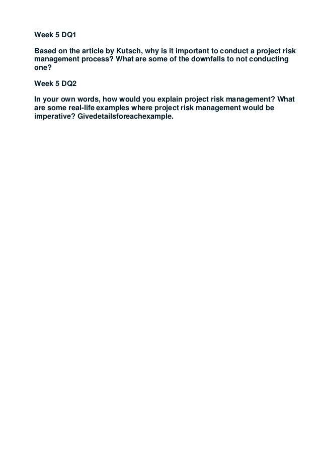 cmgt 410 week 5 Cmgt 582 week 3 risk management paper 1 1116 words | 5 pages risk management christine a rosario cmgt/582 3 november 4, 2014.