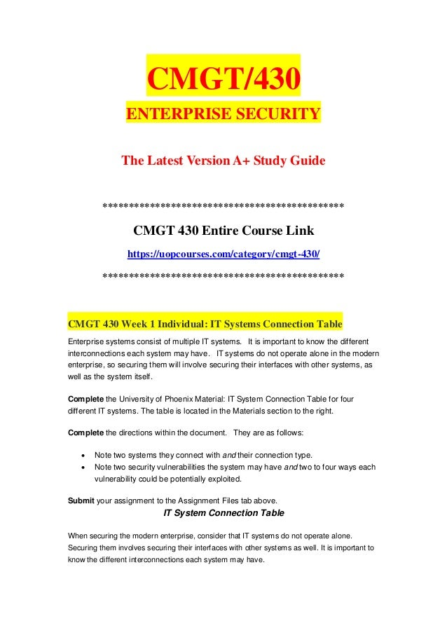 cmgt 430 Cmgt 430 week 2 learning team vulnerabilities and threat pairs a first step to developing an enterprise security plan is to identify the specific vulnerabilities and .