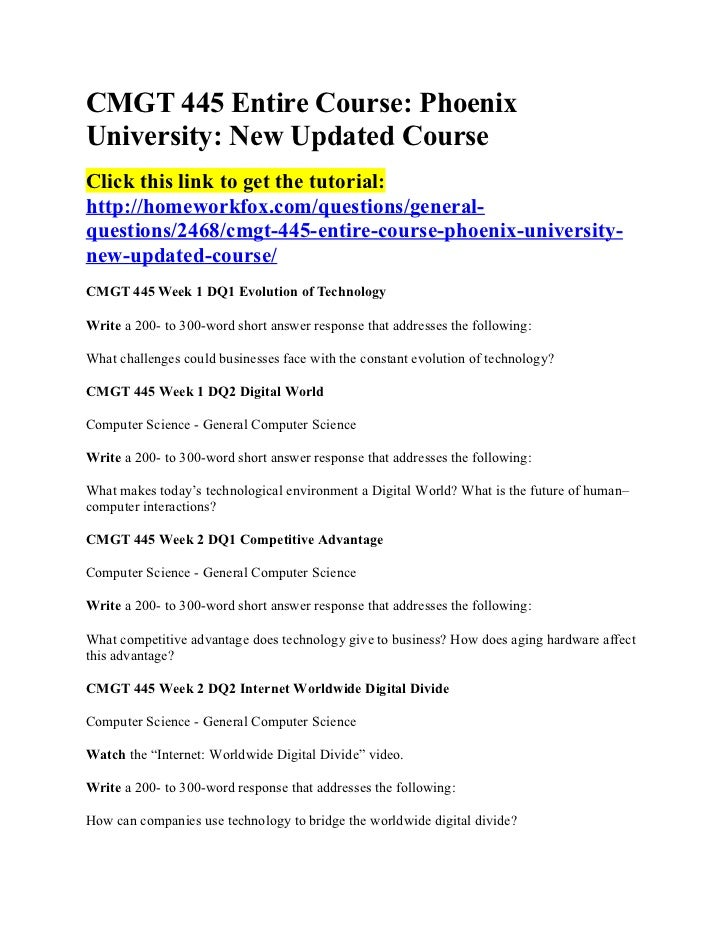 CMGT 445 Entire Course: PhoenixUniversity: New Updated CourseClick this link to get the tutorial:http://homeworkfox.com/qu...