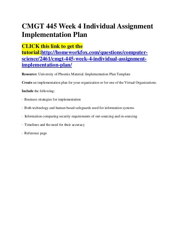 cmgt 445 week 4 Sample content cmgt 445 week 4 individual assignment implementation plan  implementation plan project name: wireless network access.