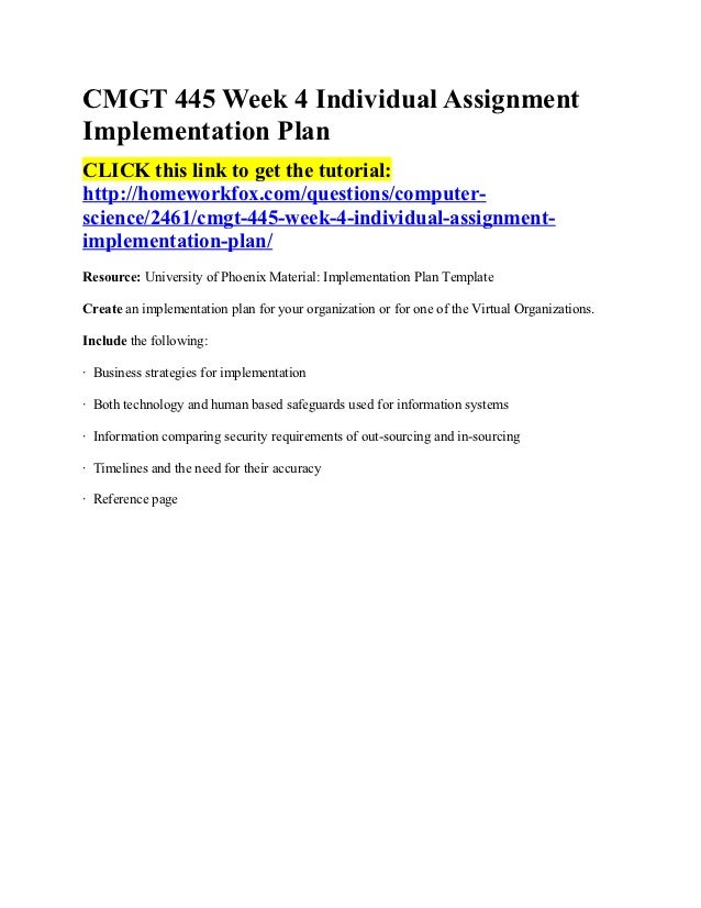 Cmgt 445 week 4 individual assignment implementation plan