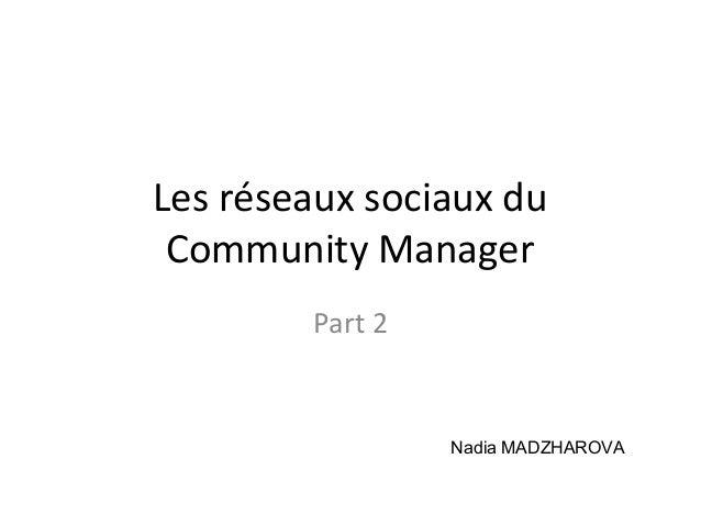 Les réseaux sociaux du Community Manager Part 2 Nadia MADZHAROVA