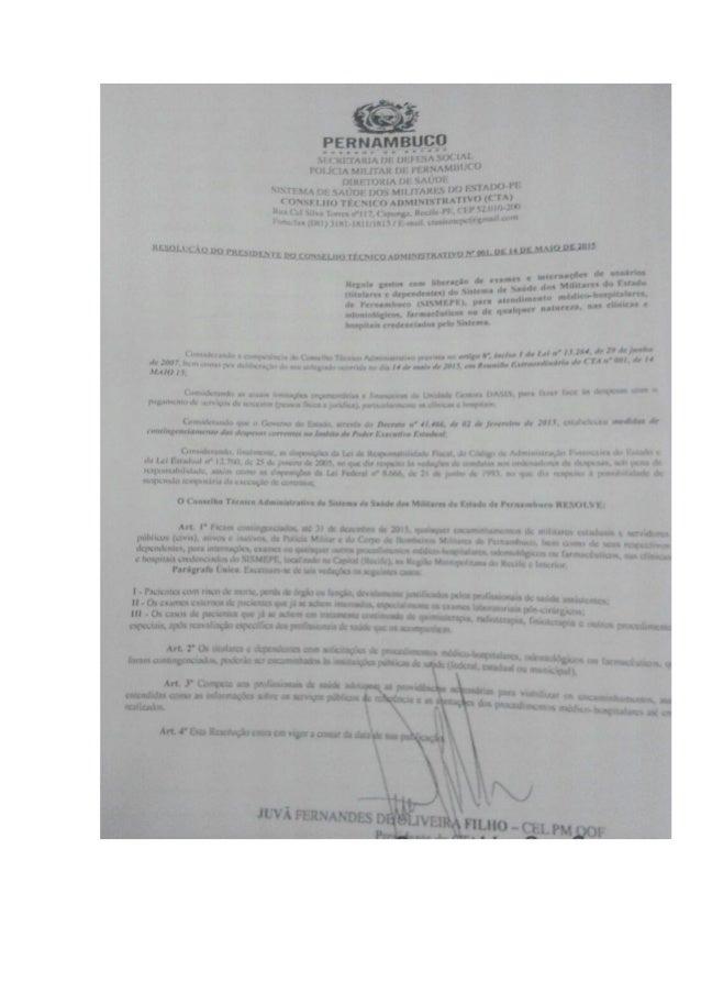 Resolução do Conselho Técnico Administrativo- SISMEPE/ SUSPENSÃO DE SERVIÇOS DE CLÍNICAS CONVENIADAS