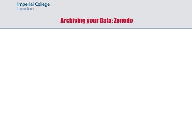 Archiving your Data: Zenodo