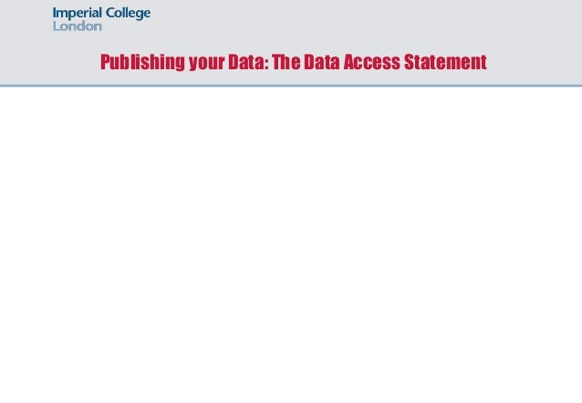 Publishing your Data: The Data Access Statement
