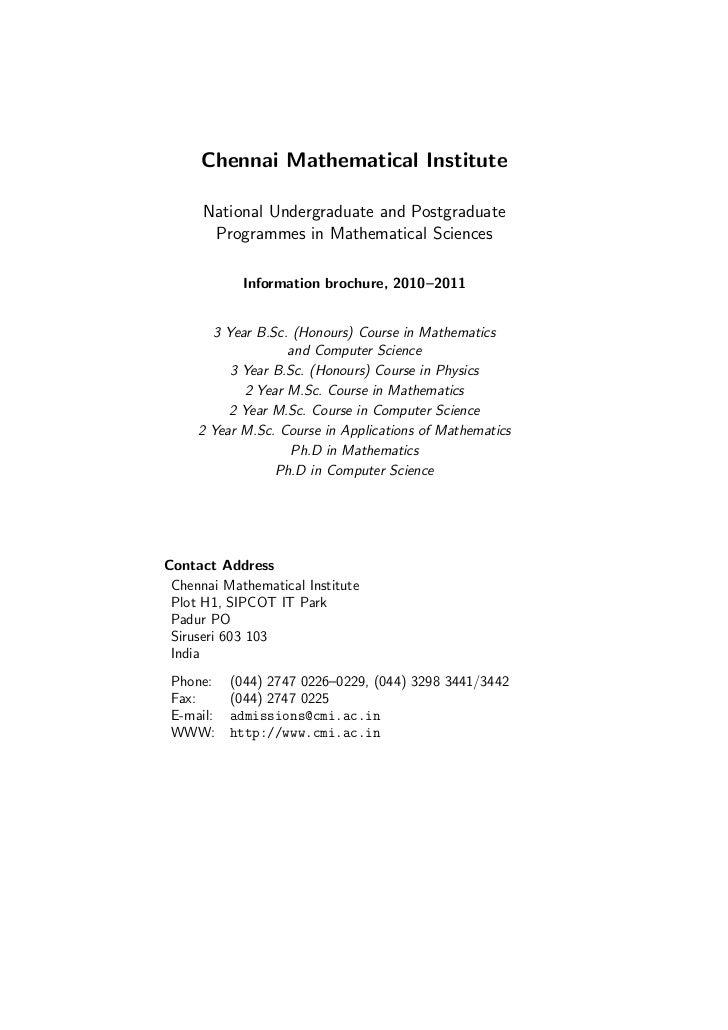 Chennai Mathematical Institute      National Undergraduate and Postgraduate       Programmes in Mathematical Sciences     ...
