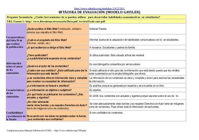 http://www.eduteka.org/modulos/1/8/2118/1 BITÁCORA DE EVALUACIÓN (MODELO GAVILÁN) Pregunta Secundaria: ¿Cuáles herramienta...