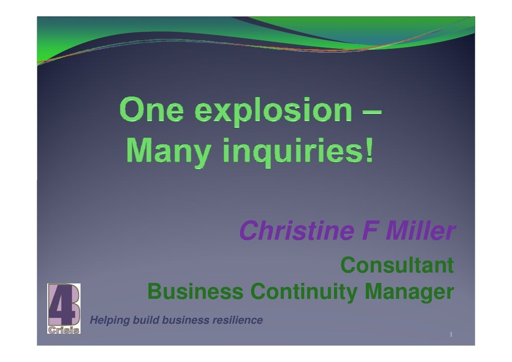 Christine F Miller                            Consultant           Business Continuity Manager Helping build business resi...