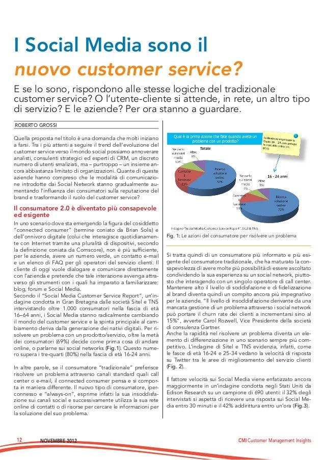 Novembre 2012 CMI Customer Management Insights12E se lo sono, rispondono alle stesse logiche del tradizionalecustomer serv...