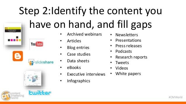 #CMWorld  Step 2:Identify the content you  have on hand, and fill gaps  • Archived webinars  • Articles  • Blog entries  •...