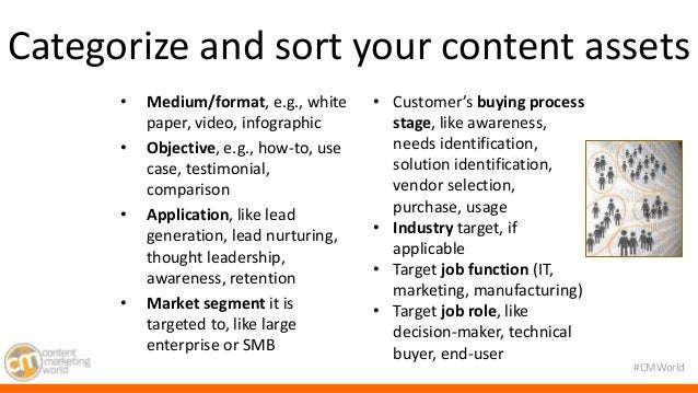 Categorize and sort your content assets  #CMWorld  • Medium/format, e.g., white  paper, video, infographic  • Objective, e...