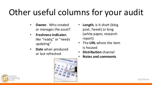"""Other useful columns for your audit  #CMWorld  • Owner. Who created  or manages the asset?  • Freshness indicator,  like """"..."""