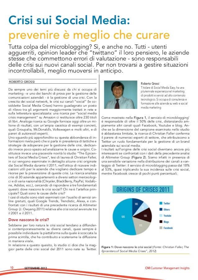 SETTEMBRE 2012 CMI Customer Management Insights10Tutta colpa del microblogging? Sì, e anche no. Tutti - utentiagguerriti, ...
