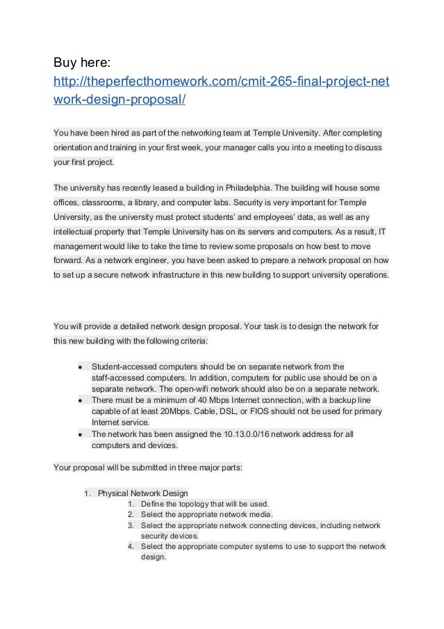CMIT/265 FINAL PROJECT NETWORK DESIGN PROPOSAL