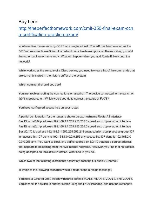 exam certification cmit practice final ccna slideshare