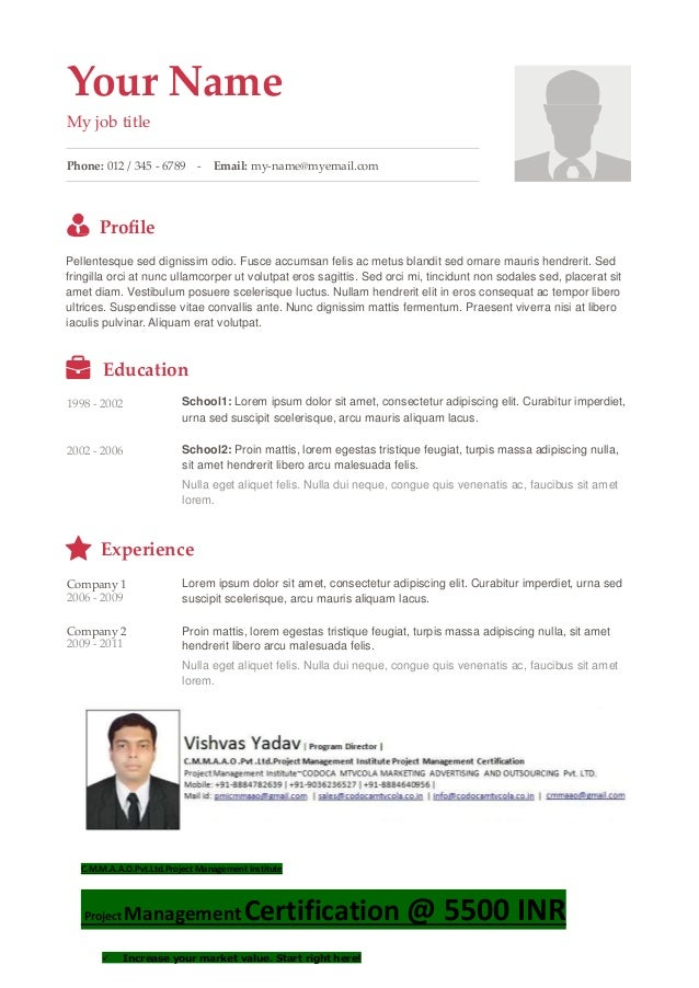 Your Name My job title Phone: 012 / 345 - 6789 - Email: my-name@myemail.com Profile Pellentesque sed dignissim odio. Fusce ...