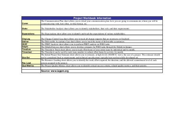 Project Workbook Information Comm  The Communication Plan sheet allows you to detail your communication plan: how you are ...