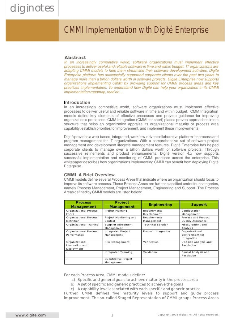 diginotes                   CMMI Implementation with Digité Enterprise                    Abstract                   In an...