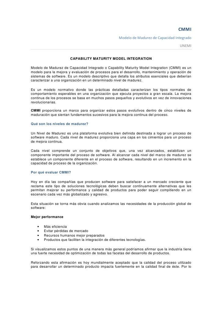 CMMI                                                       Modelo de Madurez de Capacidad Integrado                       ...