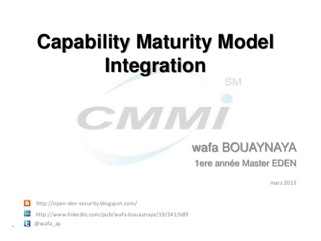 Capability Maturity Model      Integration                                                        wafa BOUAYNAYA          ...