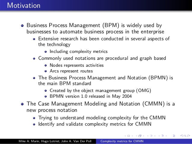Metrics for the Case Management Modeling and Notation (CMMN) Specification Slide 3