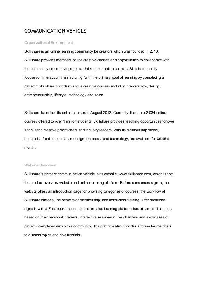 Communication Dashboard Project- Skillshare Website Assessment