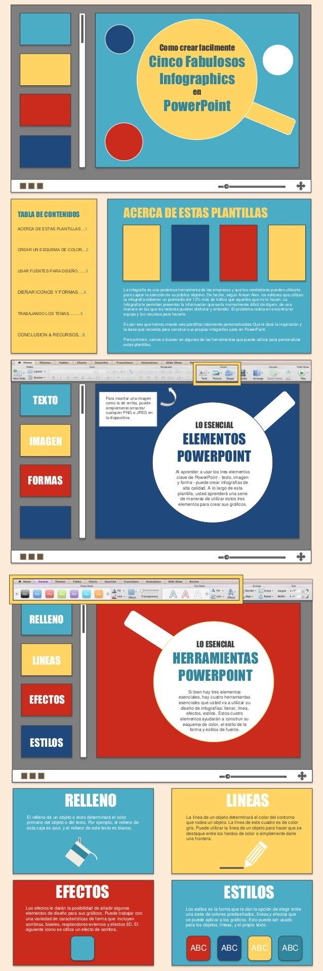 Como crear facilmente Cinco Fabulosos Infographics en PowerPoint TABLA DE CONTENIDOS ACERCA DE ESTAS PLANTILLAS ...1 CREAR...