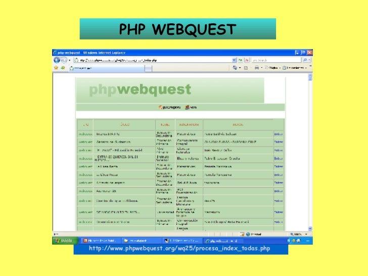 PHP WEBQUEST http://www.phpwebquest.org/wq25/procesa_index_todas.php