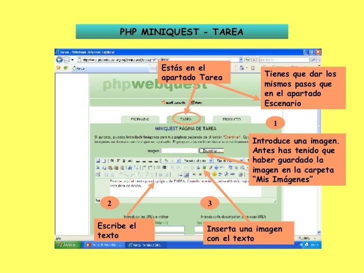 PHP MINIQUEST - TAREA Estás en el apartado Tarea Tienes que dar los mismos pasos que en el apartado Escenario 1 Introduce ...