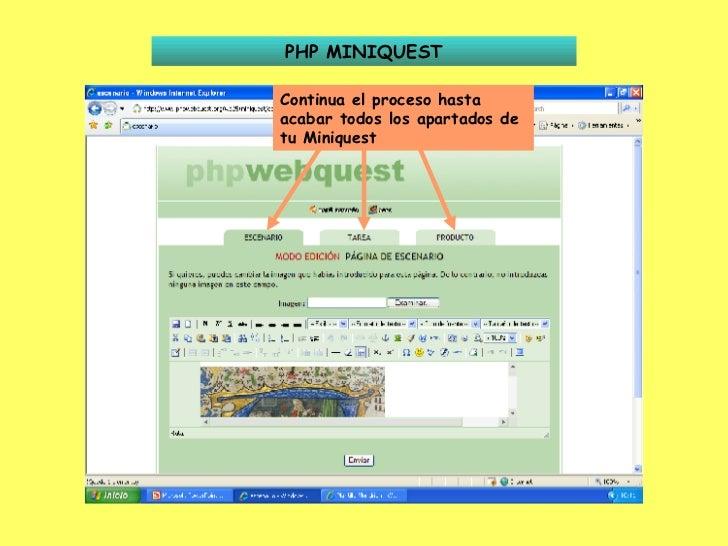 PHP MINIQUEST Continua el proceso hasta acabar todos los apartados de tu Miniquest