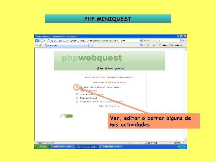 PHP MINIQUEST Ver, editar o borrar alguna de mis actividades