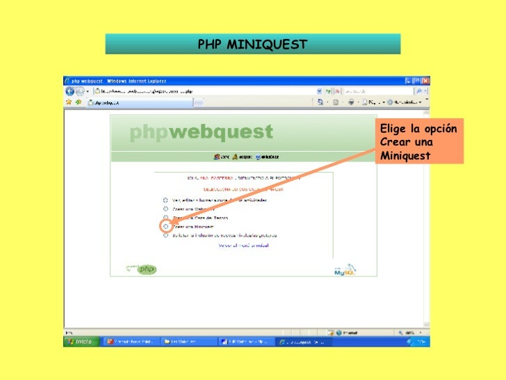 PHP MINIQUEST Elige la opción Crear una Miniquest