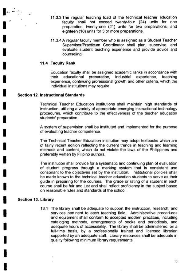 í Í  11.3.3The regular teaching load of the technical teacher education faculty shall not exceed twenty-four (24) units fo...