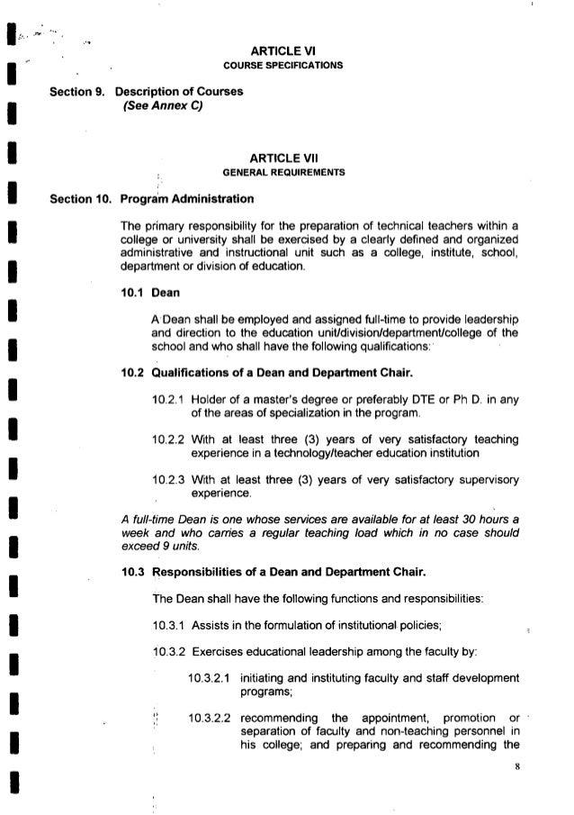 . _, _ _ . ir  , .._ l . '1  ARTICLE Vl COURSE SPEC| FICATIONS  Section 9. Description of Courses  (See Annex C)  ARTICLE ...