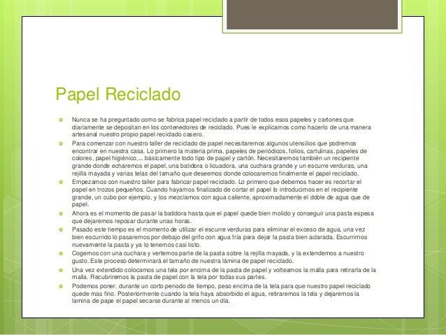 Cómo se hace el papel reciclado Slide 2