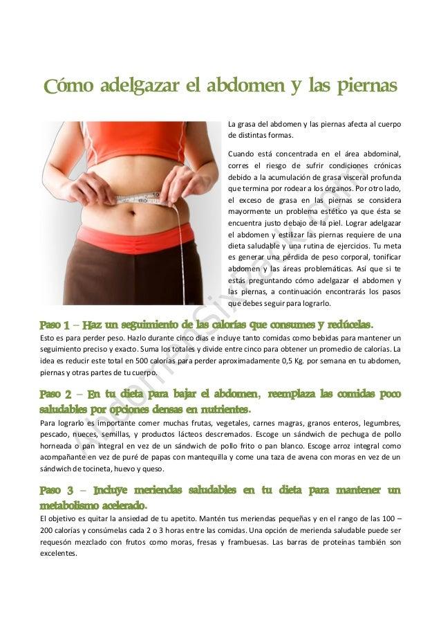 Dietas para adelgazar panza y piernas