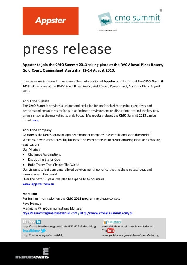press release Appster to join the CMO Summit 2013 taking place at the RACV Royal Pines Resort, Gold Coast, Queensland, Aus...