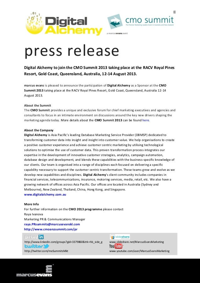 press release Digital Alchemy to join the CMO Summit 2013 taking place at the RACV Royal Pines Resort, Gold Coast, Queensl...