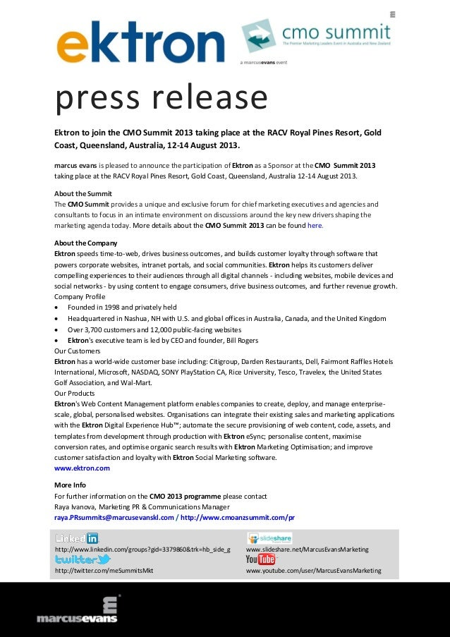 press release Ektron to join the CMO Summit 2013 taking place at the RACV Royal Pines Resort, Gold Coast, Queensland, Aust...
