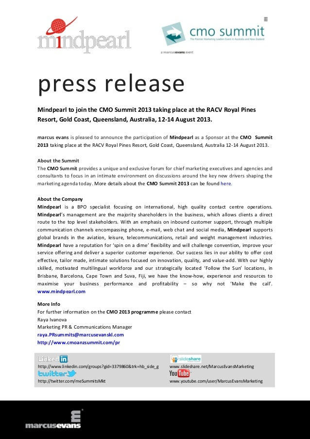 press release Mindpearl to join the CMO Summit 2013 taking place at the RACV Royal Pines Resort, Gold Coast, Queensland, A...