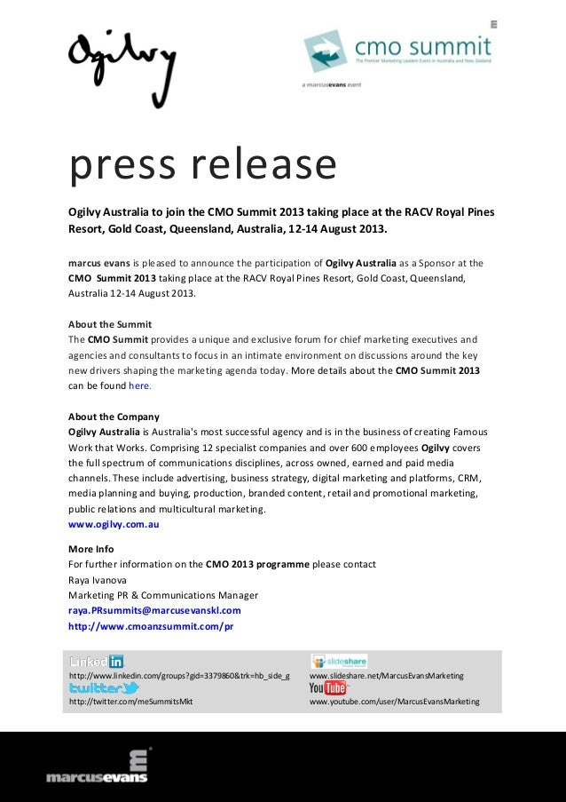press release Ogilvy Australia to join the CMO Summit 2013 taking place at the RACV Royal Pines Resort, Gold Coast, Queens...