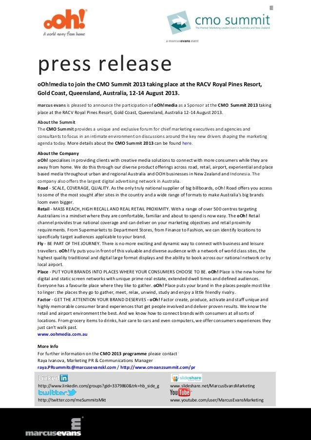 press release oOh!media to join the CMO Summit 2013 taking place at the RACV Royal Pines Resort, Gold Coast, Queensland, A...
