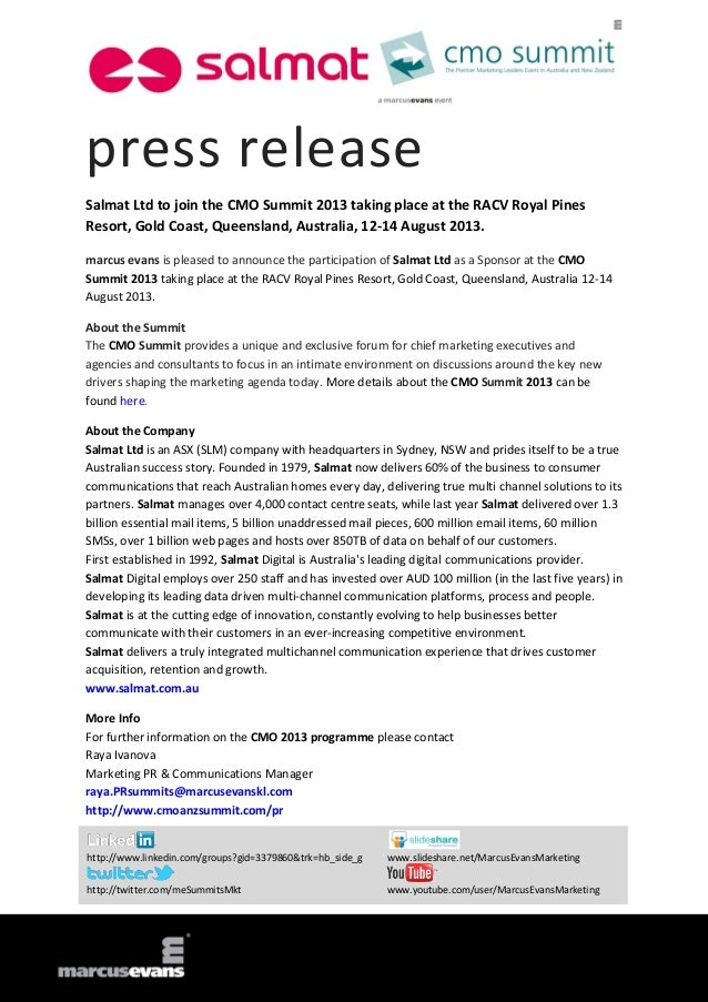 press release Salmat Ltd to join the CMO Summit 2013 taking place at the RACV Royal Pines Resort, Gold Coast, Queensland, ...