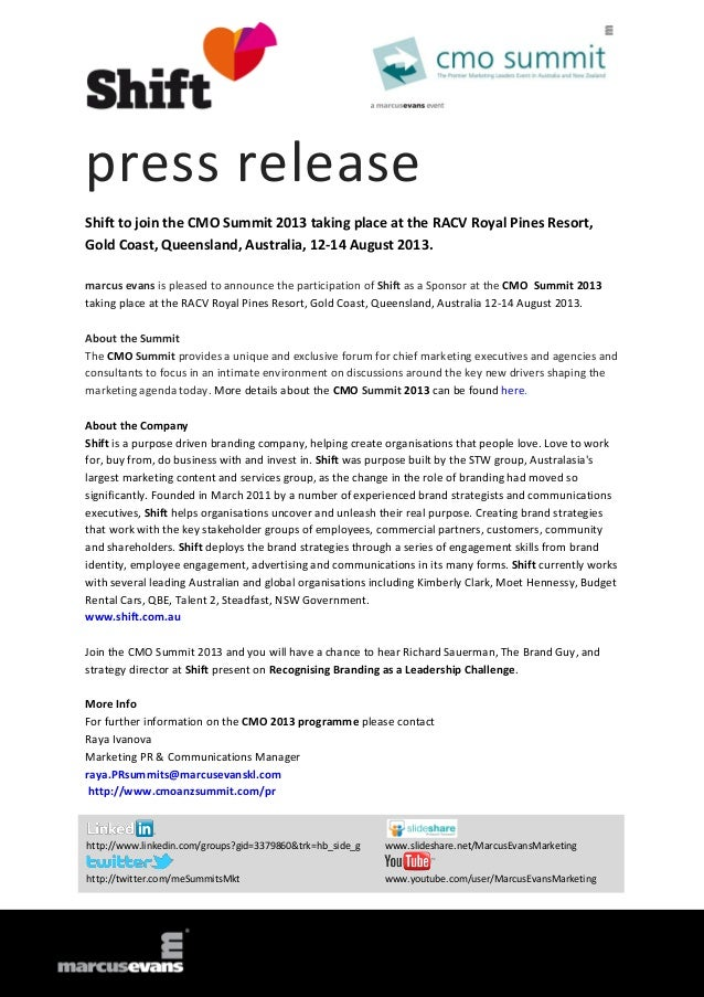 press release Shift to join the CMO Summit 2013 taking place at the RACV Royal Pines Resort, Gold Coast, Queensland, Austr...