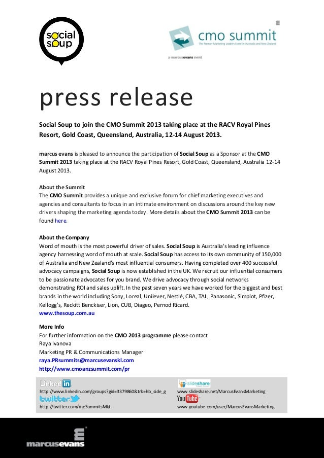 press release Social Soup to join the CMO Summit 2013 taking place at the RACV Royal Pines Resort, Gold Coast, Queensland,...