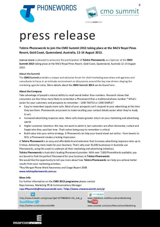 press release Telstra Phonewords to join the CMO Summit 2013 taking place at the RACV Royal Pines Resort, Gold Coast, Quee...