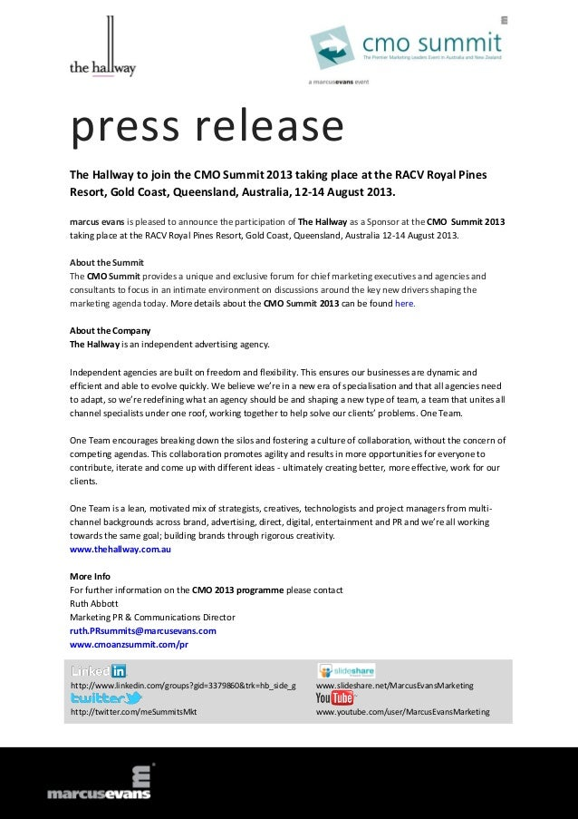 press releaseThe Hallway to join the CMO Summit 2013 taking place at the RACV Royal PinesResort, Gold Coast, Queensland, A...