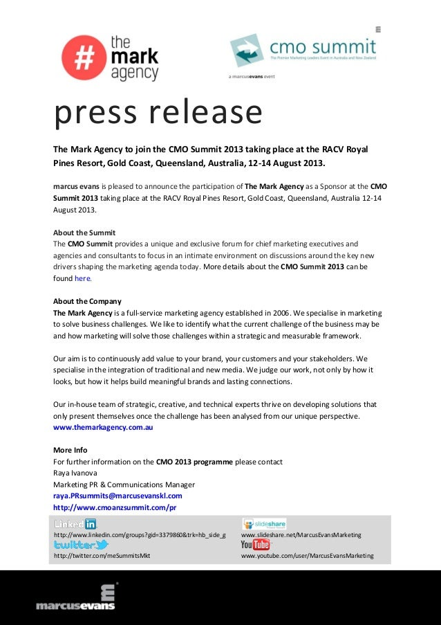 press release The Mark Agency to join the CMO Summit 2013 taking place at the RACV Royal Pines Resort, Gold Coast, Queensl...