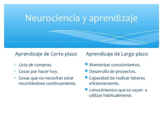 Neurociencia y aprendizajeAprendizaje de Corto plazo∗ Lista de compras.∗ Cosas por hacer hoy.∗ Cosas que no necesitan esta...